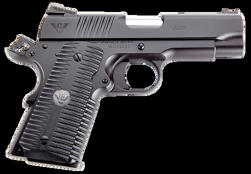 "Wilson Combat ACP Compact 1911 SAO 45 ACP 4"" 7rd Black Armor-Tuff Carbon Steel Black G10 Eagle Claw Grip"