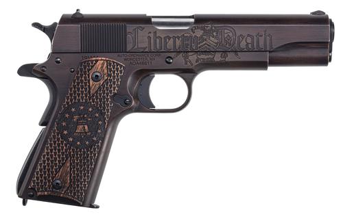 "Auto Ordnance Liberty Edition Full Size 1911, 45 ACP, 5"" Barrel, Steel Frame, Black/Brown Custom Cerakote Engraved Goncalo Wood Grips, 7Rd Mag"