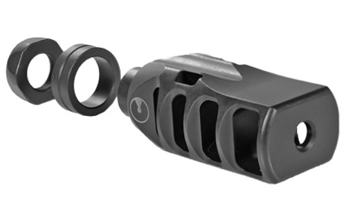 "Ultradyne Pegasus Compensator Muzzle Brake with Timing Nut, AR, 556/223, 1/2""x28 Thread, 1.25"" Outside Diameter, 416 SS, Black Nitride Finish"