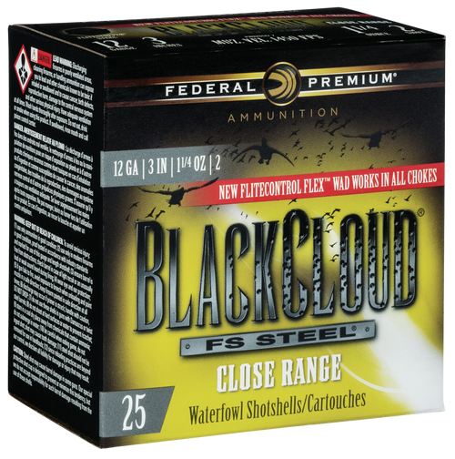 "Federal Black Cloud F S Steel Close Range 12 Ga, 3"", 1 1/4oz, 2 Shot, 25rd Box"