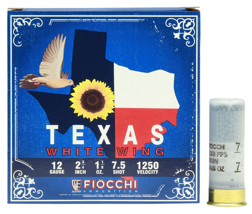 "Fiocchi Texas White Wing Dove Loads 12 Ga, 2.75"", 1 1/8oz, 7.5 Shot, 25rd Box"