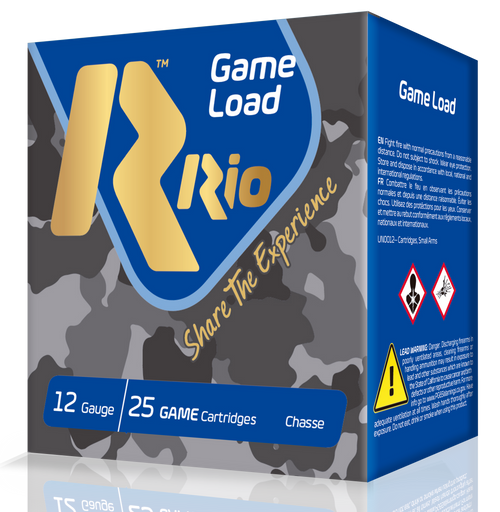 "Rio Game Load Super Game High Velocity 12 Ga, 2.75"", 1-1/8oz, 6 Shot, 25rd Box"