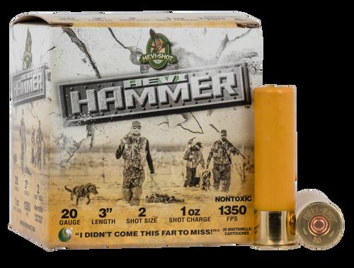 "HEVI-Shot, HEVI-Shot, HEVI-Hammer, 20 Ga 3"", Max Dram, 1oz, #2 Shot Size, 25Rd Box"