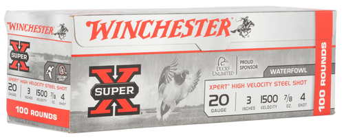 "Winchester Super-X Xpert High Velocity 20 Ga, 3.50"", 7/8oz, 4 Shot, 100rd Box (Value Pack)"