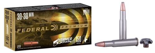 Federal Premium, Hammer Down, 30-30 Winchester, 150gr, Bonded Soft Point, 20rd Box, Designed for Lever Action Rifles