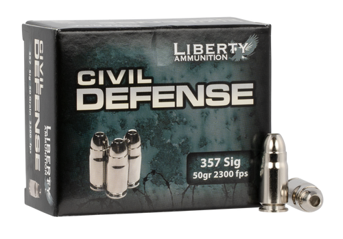 Liberty Ammunition Civil Defense 357 Sig  50gr, Hollow Point, 20rd Box