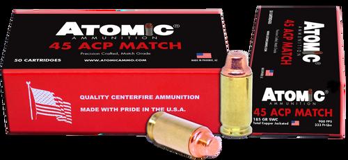 Atomic Match 45 ACP 185gr, Semi-Wadcutter, 50rd Box