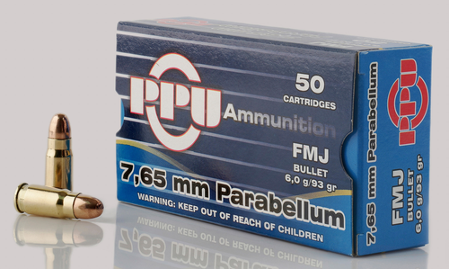 PPU Handgun 7.65 Parabellum 93gr, Full Metal Jacket, 50rd Box