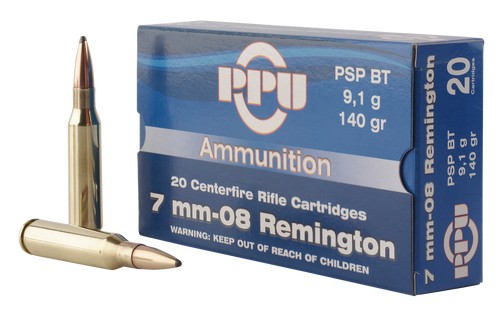 PPU Metric Rifle 7mm-08 Remington 140gr, Pointed Soft Point Boat Tail, 20rd Box