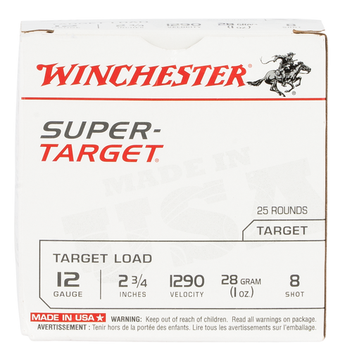 "Winchester Super Target 12 Ga, 2.75"", 1oz, 8 Shot, 25rd Box"