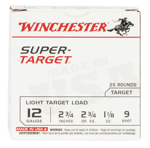 "Winchester Super Target 12 Ga, 2.75"", 1 1/8oz, 9 Shot, 25rd Box"
