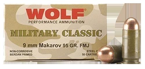 Wolf Military Classic 9x18mm Makarov 95gr, Full Metal Jacket, 50rd Box