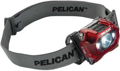 Pelican 2760 Headlamp Clear 42/289 Lumens AAA (3) Battery Red Polycarbonate