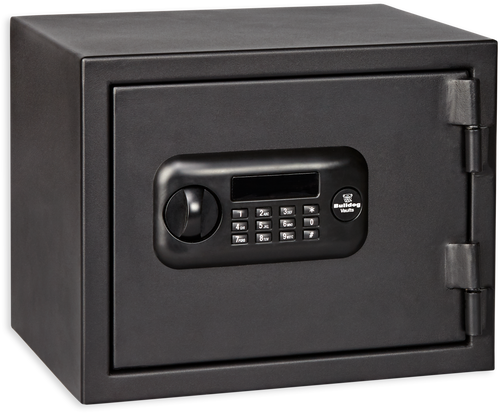 Bulldog Personal Digital Fire Vault, Electronic/Key, Keypad, Black Steel