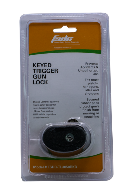 Firearm Safety Devices Keyed Trigger Lock Black Rubber Metal Lock