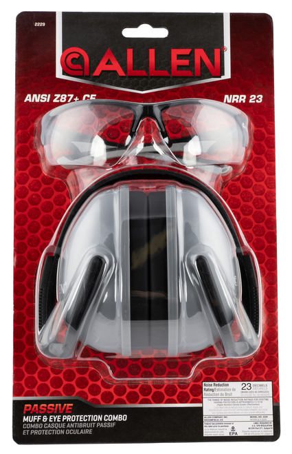 Allen Passive Muff & Eye Protection Combo 23 dB Gray