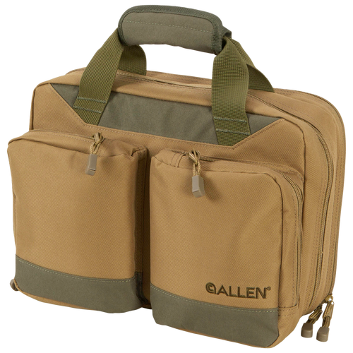Allen Double Attache 2 Handguns Green/Tan Pistol Case