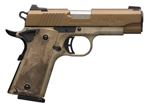 """Browning, 1911-380, Black Label Speed, Semi-automatic, Full Size, 380 ACP, 4.25"""" Barrel, Burnt Bronze Color, Cerakote Finish, Polymer Frame, Right Hand, A-TACS AU Camo Composite Grips, Ambidextrous Thumb Safety, White 3 Dot Sights, 8Rd"""