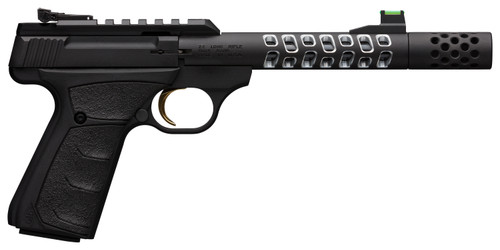 """Browning, Buck Mark Vision, Semi-automatic, 22 LR, 5.875"""" Barrel, Threaded 1/2-28, Includes Muzzle Brake, Black Color, Anodized Finish, URX Rubber Grip, Thumb Safety, Right Hand, Adjustable Rear & Fiber Optic Front Sights, 10Rd, 2 Magazines"""
