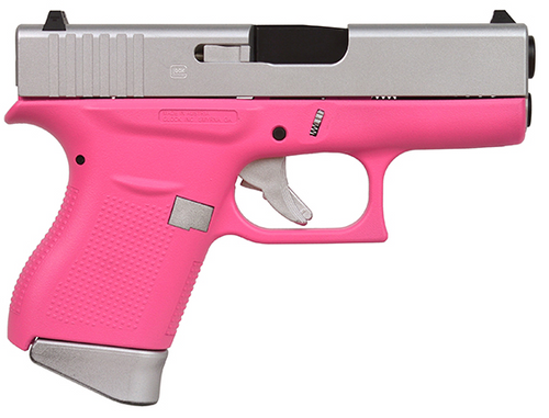 "Glock G43 9mm, 3.39"" Barrel, Fixed Sights, Silver/Pink Satin, 6rd"