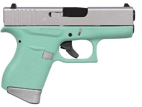 "Glock G43 9mm, 3.39"" Barrel, Fixed Sights, Silver/Robin Egg, 6rd"