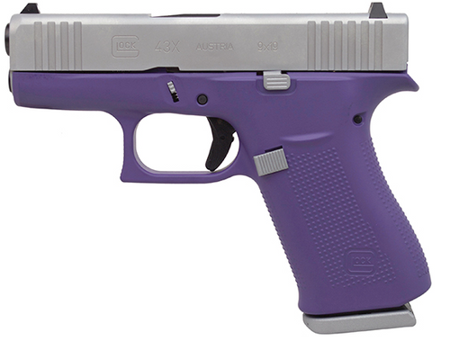 """Glock 43X Subcompact 9mm, 3.41"""" Barrel, Silver/Bright Purple, Fixed Sights, 2x10rd Mags"""