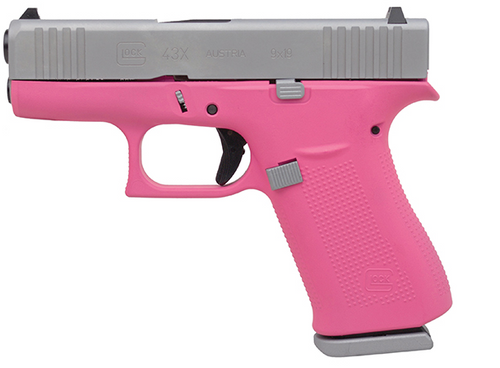 """Glock 43X Subcompact 9mm, 3.41"""" Barrel, Silver/Prison Pink, Fixed Sights, 2x10rd Mags"""