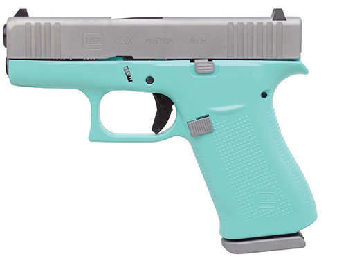 """Glock 43X Subcompact 9mm, 3.41"""" Barrel, Silver/Robin Egg Blue, Fixed Sights, 2x10rd Mags"""