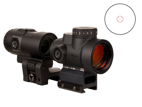Trijicon MRO HD Red Dot, 1X25, 68MOA Circle With 2MOA Center Dot, Black, Full Co-Witness Mount , 3X Magnifier With Adjustable Height Quick Release, Flip to Side Mount