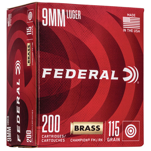 Federal Champion Training 9mm 115gr, FMJ, 200rd Box