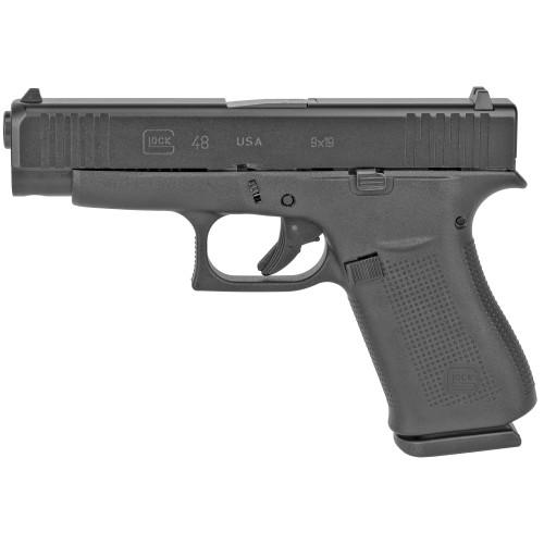 "Glock 48 Compact 9mm, 4.17"" Barrel, Beaver Tail Grip, Black, Fixed Sights, 2x10rd"