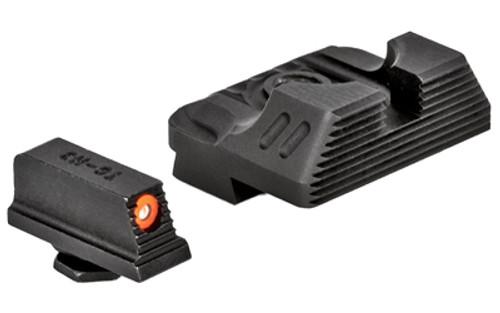 ZEV Sight Set, Black, Combat Night Sight Set, .215 Tritium Front with Orange Ring, Standard Rear B
