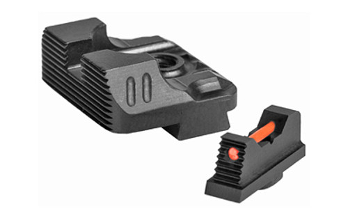ZEV Sight Set, Black, Combat Night Sight Set, .215 Tritium Front with Orange Ring, Tritium Rear NS-B