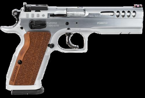 "IFG Defiant Stock Master Large 9mm, 4.75"" Barrel, Chrome, Hard Wood Grip, 17rd"