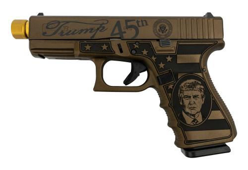 """Glock 19 Gen4 Trump MAGA Limited Ed., 9mm, 4.6"""" Zaffiri TiN TB, Burnt Bronze, 3x 15rd"""