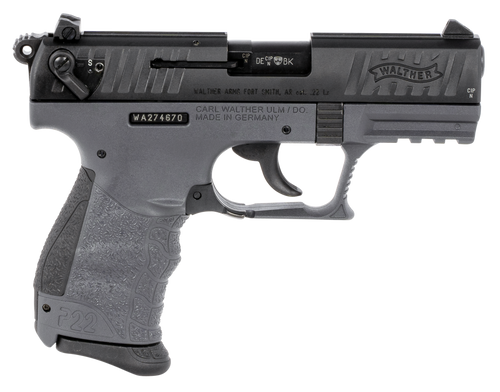 "Walther P22 CA, 22 LR, 3.42"",  Rnd Tungsten Gray,  10 rd"