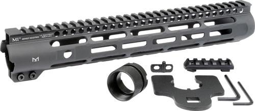 "Midwest Slim Line Handguard AR-15, 12.625"" Length, M-Lok, Aluminum, Black Anodized Finish, 5-Slot Polymer Rail"