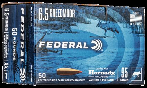 Federal Varmint & Predator 6.5 Creedmoor 95gr, Hornady V-Max 50rd Box