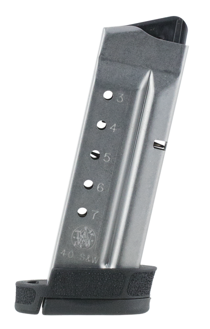 Smith & Wesson Magazine, 40 S&W, 7Rd, Fits Shield, Stainless, Finger Rest