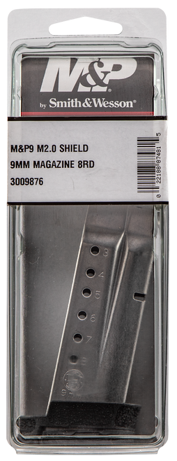 Smith & Wesson Magazine, 9mm, 8Rd, Fits Shield M2.0, Stainless, with Finger Rest