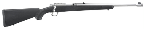 """Ruger 77 357 Magnum, 18.5"""" Threaded Barrel, 1/2X28 Threads, Stainless Finish, Adjustable Rear Sight, Bead Front Sight, 5rd"""