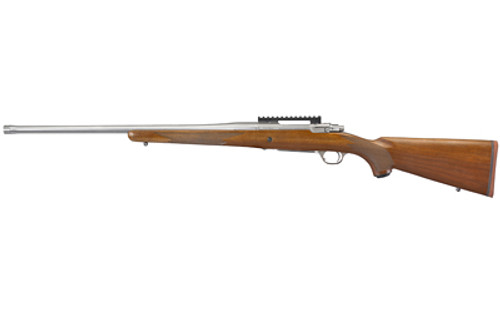 "Ruger Hawkeye Hunter 7MM Remington Magnum, 24"" Free Floated Cold Hammer Forged Barrel, 5/8X24 Threads, Satin Stainless Finish, Walnut Stock, LC6 Trigger, 3rd"