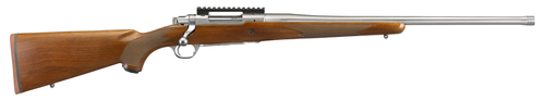 """Ruger Hawkeye Hunter 6.5PRC, 22"""" Free Floated Cold Hammer Forged Barrel, 5/8X24 Threads, Satin Stainless Finish, Walnut Stock, LC6 Trigger, 3rd"""