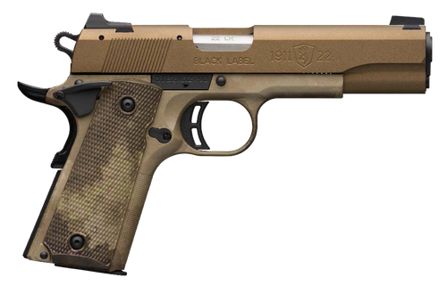 """Browning, 1911-22, Black Label Speed, Semi-automatic, Full Size, 22 LR, 4.25"""" Barrel, Burnt Bronze Color, Cerakote Finish, Polymer Frame, Right Hand, A-TACS AU Camo Composite Grips, Ambidextrous Thumb Safety, White 3 Dot Sights, 10Rd"""