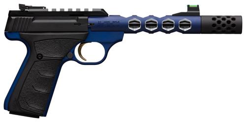 """Browning Buck Mark Plus Vision 22 LR, 5.87"""" Barrel, Blue Frame, Blue Slide And Blue Vision Barrel, UFX Rubber Overmolded Grip, 10rd"""