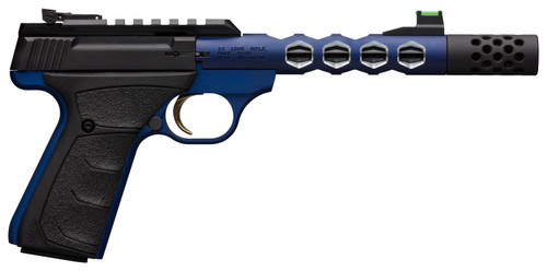 """Browning, Buck Mark Vision, Semi-automatic, 22 LR, 5.875"""" Barrel, Threaded 1/2-28, Includes Muzzle Brake, Blue Color, Anodized Finish, URX Rubber Grip, Thumb Safety Right Hand, Adjustable Rear & Fiber Optic Front Sights, 10Rd, 2 Magazines"""
