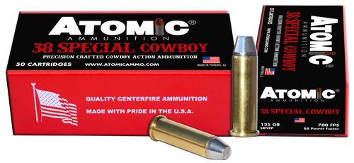 Atomic Cowboy Action 38 Special 125gr, Lead Round Nose Flat Point, 50rd Box