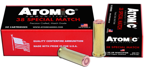 Atomic Match 38 Special 148gr, Hollow Base Wadcutter, 50rd Box