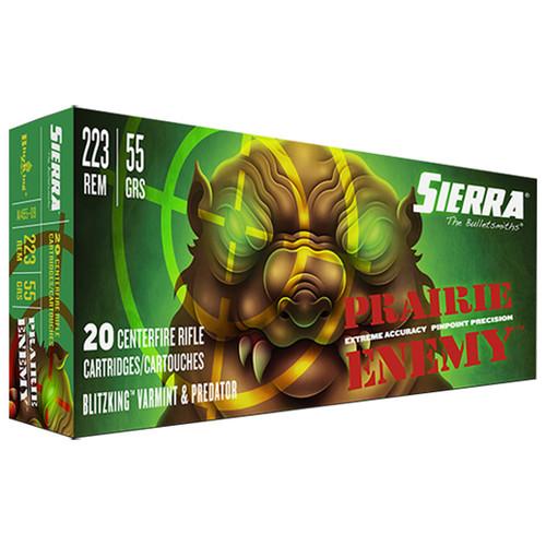 Sierra Bullets, Prairie Enemy, 223 Rem, 55Gr, BlitzKing, 20rd Box