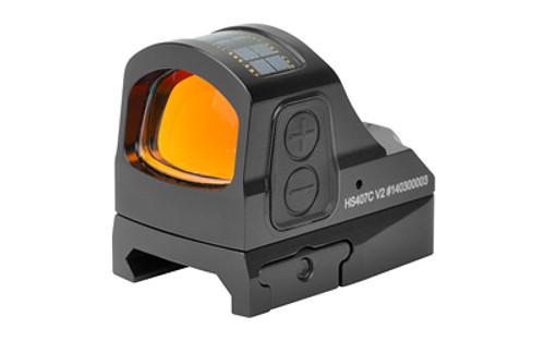 Holosun 407C Red Dot, 2 MOA Dot, Black, V2 Optics, Shake Awake, Solar Failsafe, Picatiny Mount